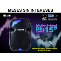 Steelpro Bafle Linea Profesional De 2 Vias,15 ,usb,bluetooth