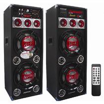 Par Bafles Amplificado Y Pasivo Usb Sd Karaoke Auxiliar 3010