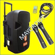 Bafle Ksr 15 Amplificado De Bateria Recargable Bluetooth Sd