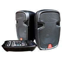 Sistema Portátil De Sonido Mezcladora + 2 Bafles