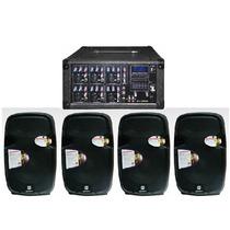 Kit Mezcladora Amplificada 1600w + 4 Bafles Bocinas 12