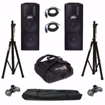 2) Peavey Pv215 Pro Dual 15 Passive 1400w Speaker Tripod