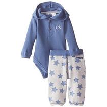 Calvin Klein Bebé Niños Recién Nacido Azul Del Mono Con Pant