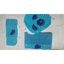 Juego Baño Tela Azul