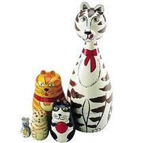 Rusa De Madera De La Jerarquización Muñecas Cat Figurines-ma