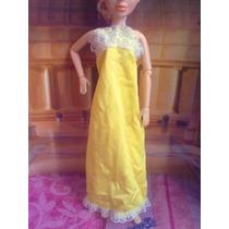 Ropa Vintage De Barbie Vestido Amarillo Largo