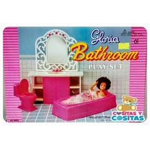 Muebles Para Casa De Muñeca Barbie Baño Rosa Con Tina