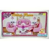 Mueble Para Casa De Muñecas Barbie Sala Grande