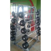 Rack Con 10 Barras Con Peso Fijo Cracken Gym Gimnasio