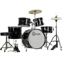 Completa 5 Piezas Negro Drum Set Junior Con Platillos Stands