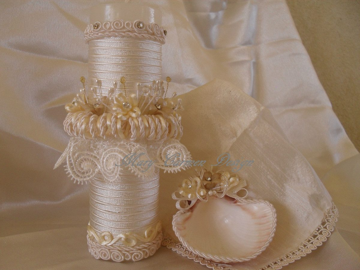 Bautizo set vela concha y fina mantilla en seda y - Como hacer conchas finas ...