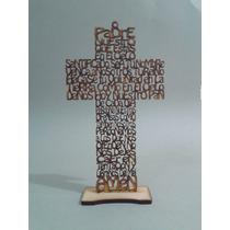 25 Cruces De Mdf Con Oración Padre Nuestro 20 Cms