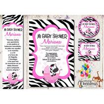 Invitacion Baby Shower Zebra Cebra Kit Imprimible