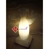 Lámpara De Ónix Angelito Bolo 19 Cm Altura. Blanco Y Naranja