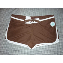 Short Playa Body Glove Color Cafe Con Blanco Talla Grande 11