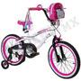 Bicicleta Blanca Hello Kitty Para Niña 18 Pulgadas