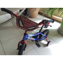 Bicicleta Para Niño Spiderman, Llantitas Y Timbre