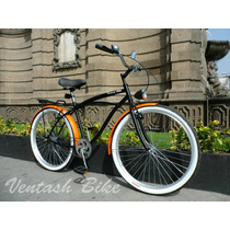 Bicicleta Cruiser Retro O Vintage R26 Negro - Naranja
