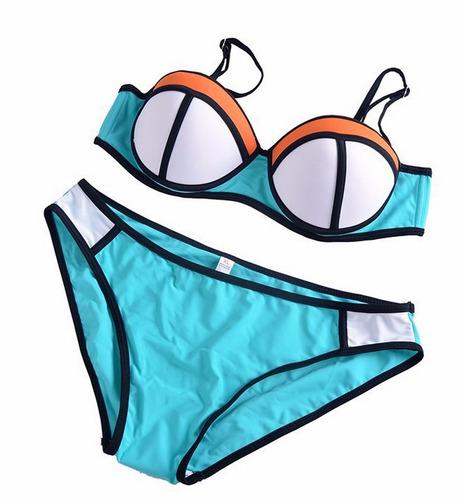 Traje De Baño Rojo Andrea:Bikini Vintage Push Up Hermoso Traje De Baño Mujer Neopreno – $ 559