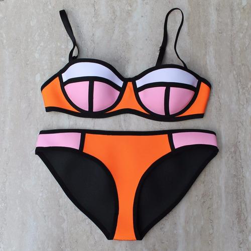 Traje De Baño Mujer Nuevo:Nuevos Bikinis De Neopreno Trajes De Baño Mujer Colores Neón – $ 680