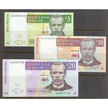 Colección De 3 Billetes De Malawi