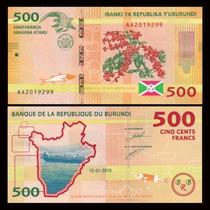 Billete Burundi 500 Francos (2015) Cocodrilo, Pescadores