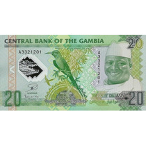 Grr-billete Gambia 20 Dalasis 2014 Ave Y Cocodrilo, Plástico