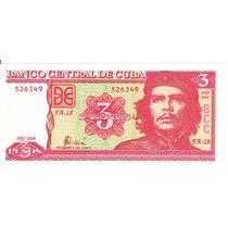 Che Guevara 3 Pesos Cuba 2004 Fa-18 Unc