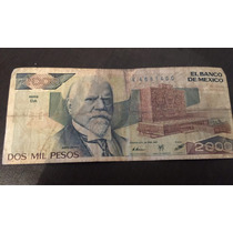 Billete Antiguo De 2000 Pesos Justo Sierra 1987