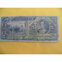 Antiguo Billete De $ 5.00 De El Banco De Zacatecas