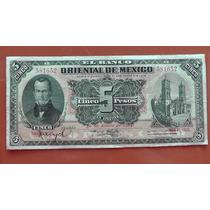 Billete Antiguo 5 Pesos Del Banco Oriental De Mexico 1914