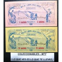 Billetes Del Estado De Mexico (hacienda Solis).5c Y.20c Unc