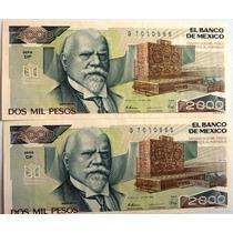 Dos Billetes Seriados De $2000 Justo Sierra