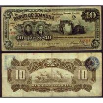Bk-coa-9 Billete Del Banco De Coahuila De 10 Pesos