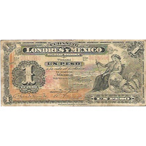Papel Moneda 1 Peso Banco De Londres Y Mexico