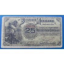 Billete Banco Mexicano 25 Centavos 1888 Muy Escaso