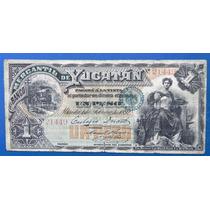 Billete Banco Merc De Yucatan $1 Peso 1892 Muy Escaso