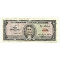 Billete Rep. Dominicana 1 Peso Oro (1964) Corbata Blanca