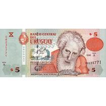 Grr-billete De Uruguay 5 Pesos Uruguayos 1998