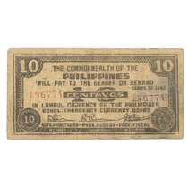 Billete Filipinas 10 Centavos (1942) Bohol