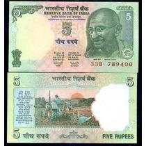 India 5 Rupees Caratula De Ghandi 2001