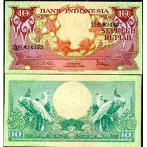 Indonesia 10 Rupiah 1959 Flores Y Cacatuas Fn4