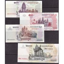 Coleccion De 4 Billetes De Camboya Actuales
