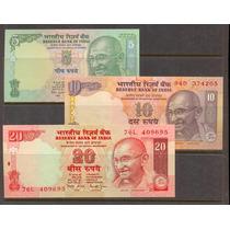 Coleccion De 3 Billetes De La India Con Gandhi