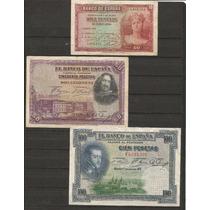 Colección De 3 Billetes De España Años 20
