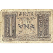 Billete Reino De Italia 1 Lira (1939) Cesar Augusto Lqe