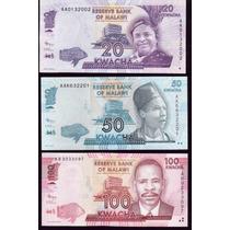 Coleccion De 3 Billetes De Malawi Actuales