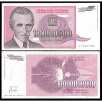 10 Billones Dinara Nicolas Tesla (1993) Billete Yugoslavia