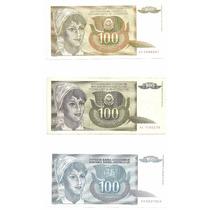 3 Billetes Yugoslavia 100 Dinara (1990, 1991 Y 1992) Espiga