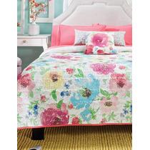 Juego De Edredon Queen Size Florida Blanco Diseño Floral